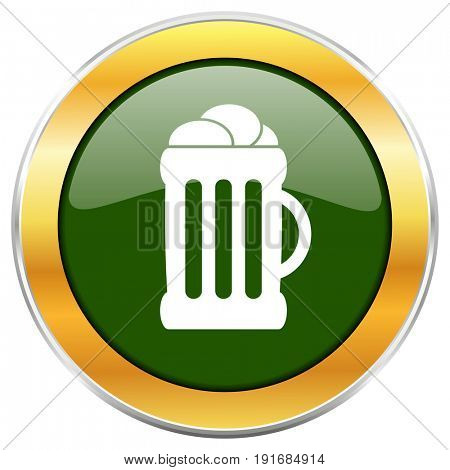 Beer green glossy round icon with golden chrome metallic border isolated on white background for web and mobile apps designers.