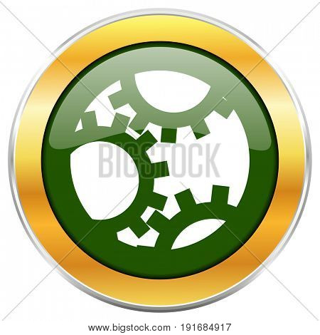 Gear green glossy round icon with golden chrome metallic border isolated on white background for web and mobile apps designers.