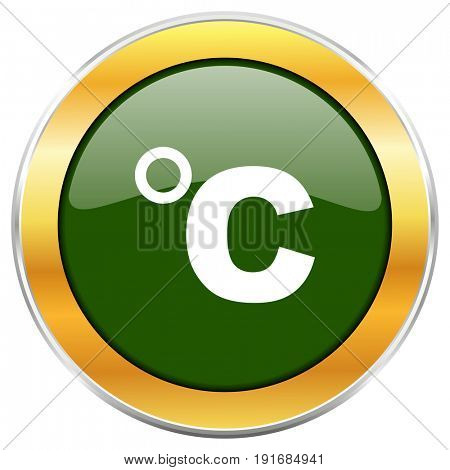 Celsius green glossy round icon with golden chrome metallic border isolated on white background for web and mobile apps designers.