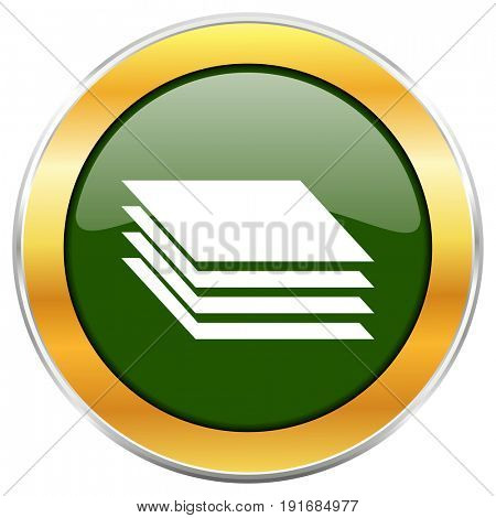 Layers green glossy round icon with golden chrome metallic border isolated on white background for web and mobile apps designers.