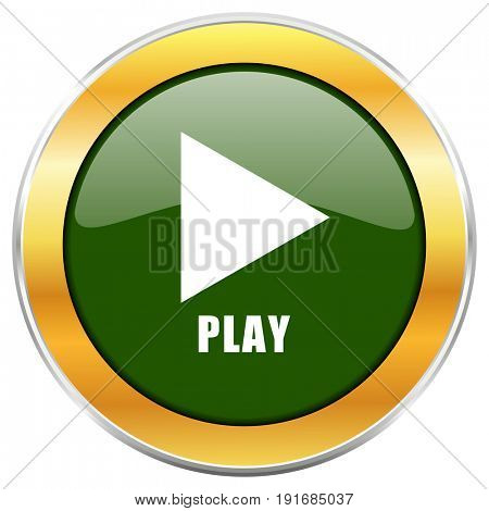 Play green glossy round icon with golden chrome metallic border isolated on white background for web and mobile apps designers.