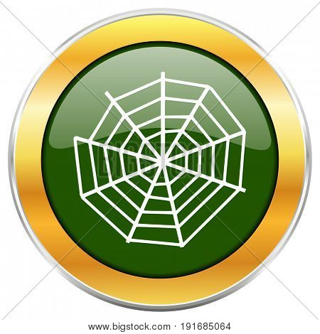 Spider web green glossy round icon with golden chrome metallic border isolated on white background for web and mobile apps designers.