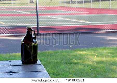 Growler in Front of Tennis Courts, Summer