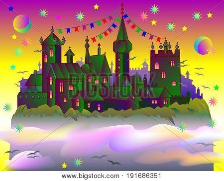 Fairyland fantasy castle late at sunset. Vector cartoon image.
