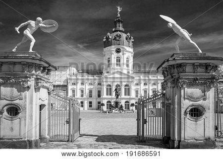 Monochrome Charlottenburg palace in Berlin, Germany