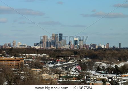Minneapolis Skyline Over Golden Valley During Winter