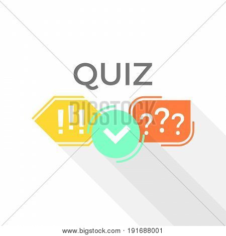 Quiz vector logo isolate on white background, flat speech symbols, questionnaire icon, concept of social communication, chatting, interview, voting, discussion, talk, team dialog