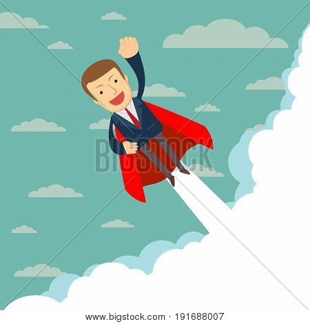 Super businessman in red capes flying upwards to his success. Stock vector illustration for poster, greeting card, website, ad, business presentation, advertisement design.