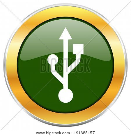 Usb green glossy round icon with golden chrome metallic border isolated on white background for web and mobile apps designers.