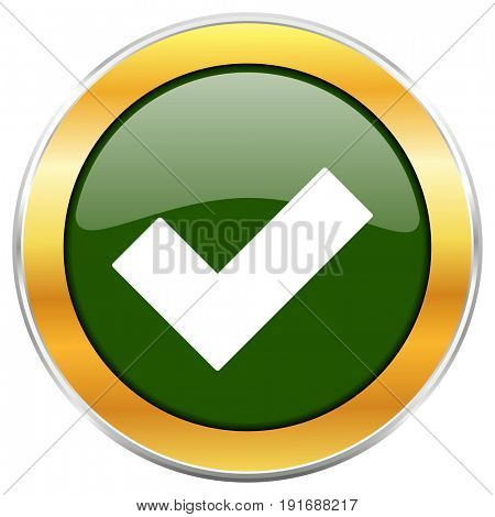 Accept green glossy round icon with golden chrome metallic border isolated on white background for web and mobile apps designers.