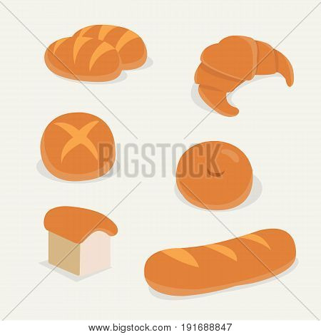 Flat bread set vector with isolated background.French bread set.