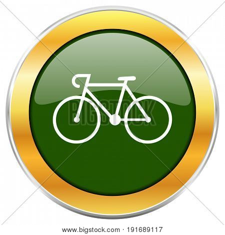 Bicycle green glossy round icon with golden chrome metallic border isolated on white background for web and mobile apps designers.