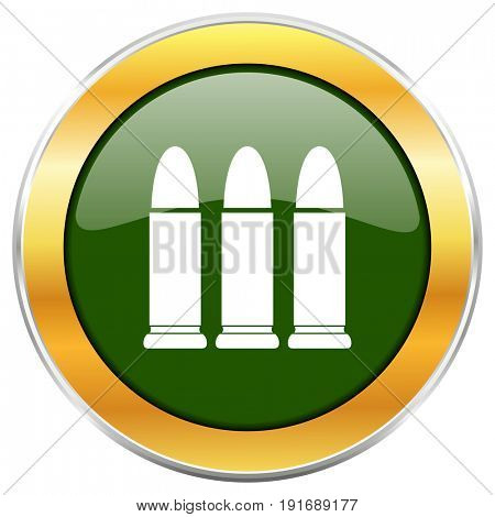 Ammunition green glossy round icon with golden chrome metallic border isolated on white background for web and mobile apps designers.