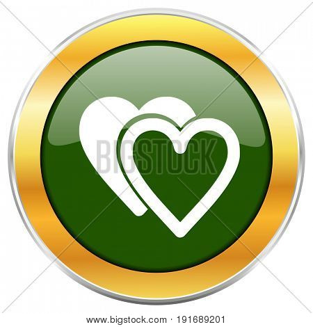 Love green glossy round icon with golden chrome metallic border isolated on white background for web and mobile apps designers.