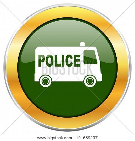 Police green glossy round icon with golden chrome metallic border isolated on white background for web and mobile apps designers.