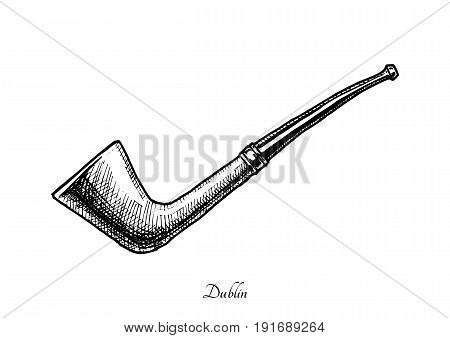 Vector hand drawn illustration of dublin shape pipe. Also known as Oom Paul. isolated on white background.