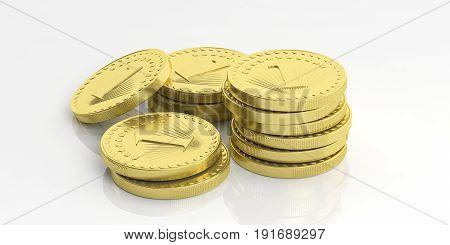 Golden Coins Stacked On White Background. 3D Illustration