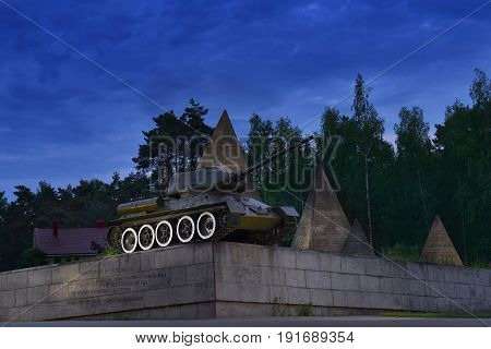 SNEGIRI, MOSCOW, JUN, 17, 2017: Great Patriotic War monument of legendary IIWW victory soviet tank T 34/85 in Lenino Snegiri military historical museum. Famous soviet tanks. Victory day 9 of May