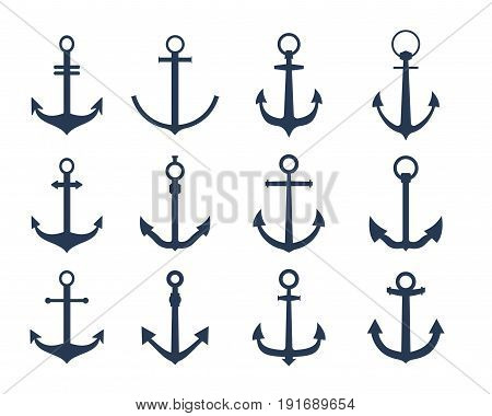 Vector boat anchors isolated on white background for marine tattoo or logo.