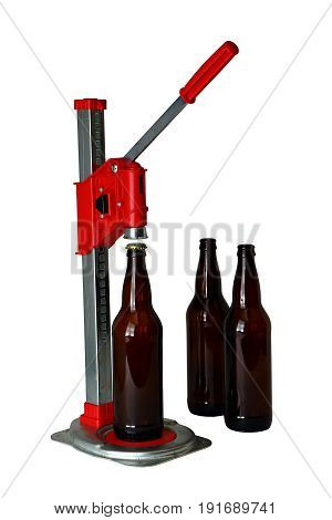 Bottle Cap Press And Bottles For Homebrew Beer