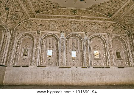 YAZD, IRAN - MAY 5, 2015: Traditionally decorated room overlooking the inner courtyard of the water museum in old city.
