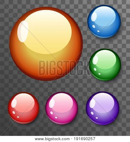 Save Download Preview Illustration of Photorealistic Vector 3D Ball Set Template. Bright Colors Vector Ball Set Isolated on Transparent PS Style Background