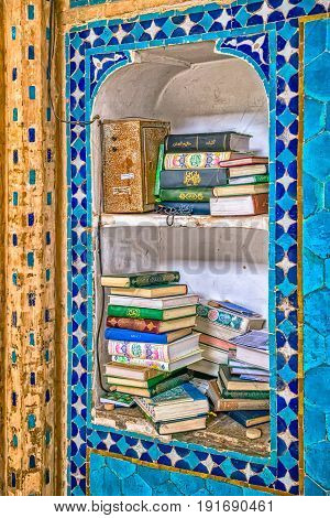 YAZD, IRAN - MAY 5, 2015: Bookshelf detail in the Yame mosque in old city.
