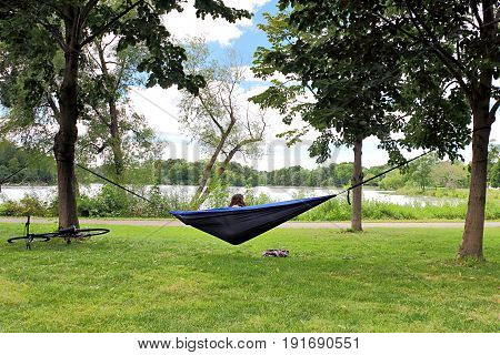 Hammocking in Minneapolis at Lake of the Isles
