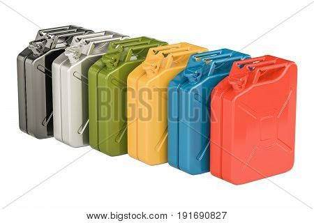 Colored steel jerry cans in row 3D rendering isolated on white background