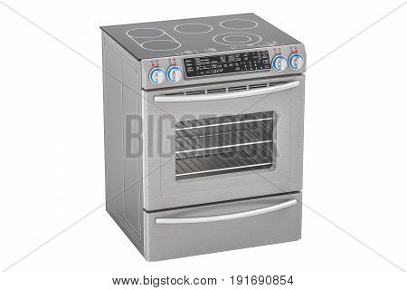 Electric Slide-In Convection Range. Kitchen Stove 3D rendering isolated on white background