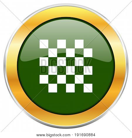 Chess green glossy round icon with golden chrome metallic border isolated on white background for web and mobile apps designers.