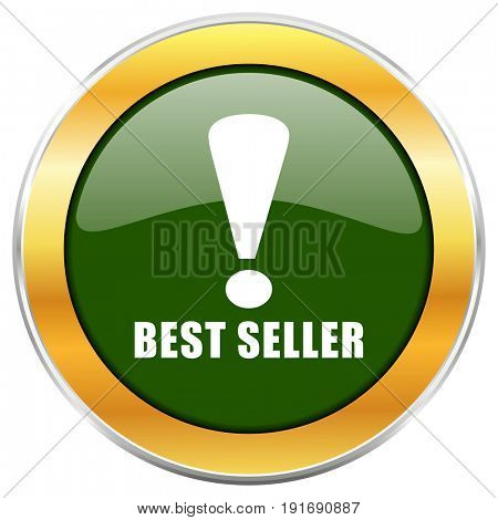 Best seller green glossy round icon with golden chrome metallic border isolated on white background for web and mobile apps designers.