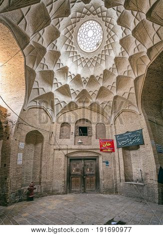 YAZD, IRAN - MAY 5, 2015: Beautiful Bazaar ceiling in the old part of the city during afternoon break.