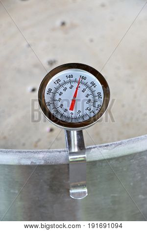 Dial Thermometer in Barley Mash for Beer