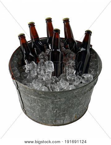 Six Pack Of Beer In Ice Bucket