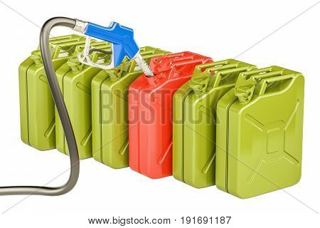 Gas pump nozzle and jerrycans 3D rendering isolated on white background