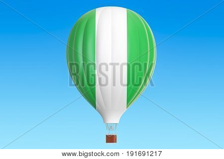 Hot air balloon with Nigeria flag 3D rendering