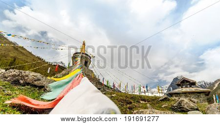 View on Tibetan Stupa in the mountains