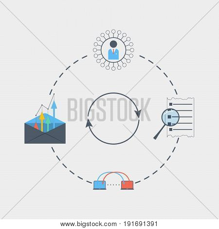 business development icon flat stock vector illustration