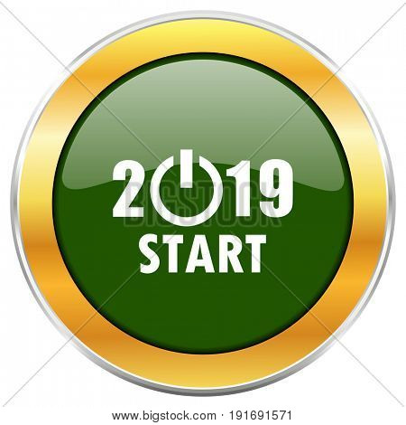New year 2019 green glossy round icon with golden chrome metallic border isolated on white background for web and mobile apps designers.