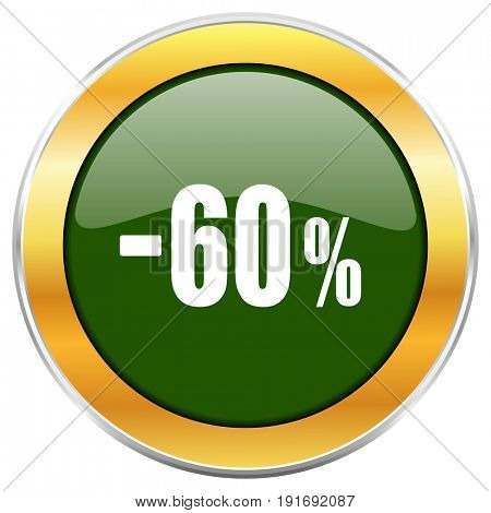 60 percent sale retail green glossy round icon with golden chrome metallic border isolated on white background for web and mobile apps designers.