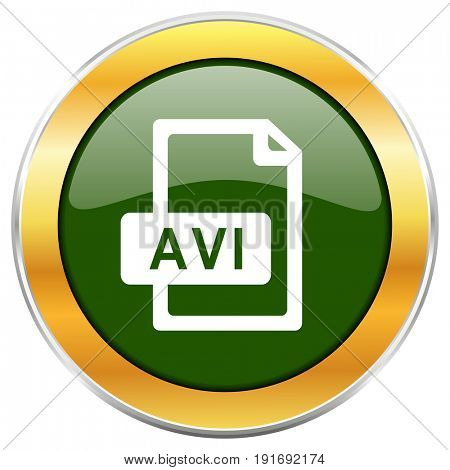 Avi file green glossy round icon with golden chrome metallic border isolated on white background for web and mobile apps designers.