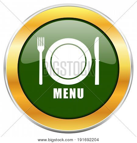 Menu green glossy round icon with golden chrome metallic border isolated on white background for web and mobile apps designers.