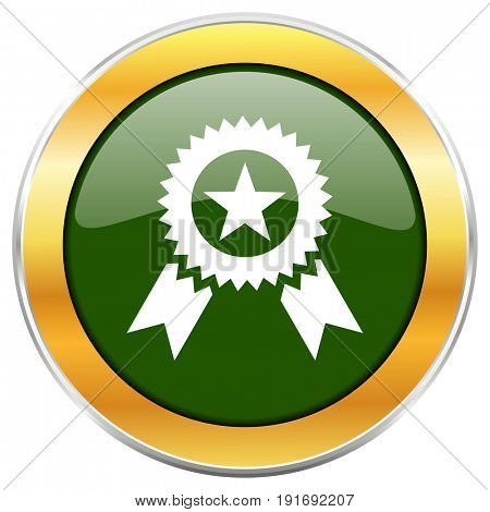 Award green glossy round icon with golden chrome metallic border isolated on white background for web and mobile apps designers.
