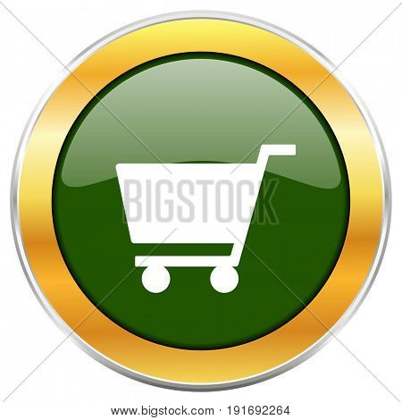 Cart green glossy round icon with golden chrome metallic border isolated on white background for web and mobile apps designers.