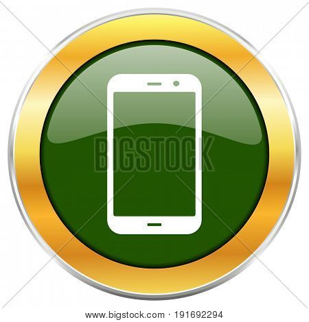 Smartphone green glossy round icon with golden chrome metallic border isolated on white background for web and mobile apps designers.
