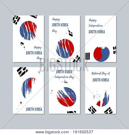 South Korea Patriotic Cards For National Day. Expressive Brush Stroke In National Flag Colors On Whi
