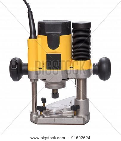Yellow plunge router, isolated on white background.