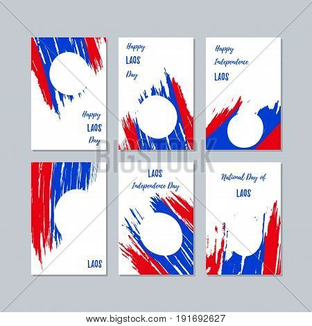 Laos Patriotic Cards For National Day. Expressive Brush Stroke In National Flag Colors On White Card