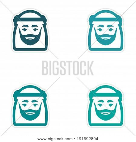 Set of paper stickers on white background Arab men
